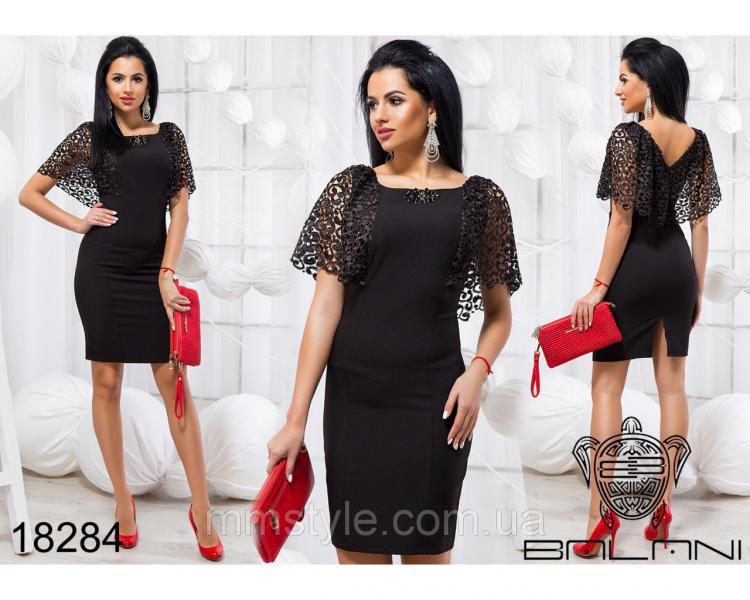 Стильное платье с кружевом - 18284