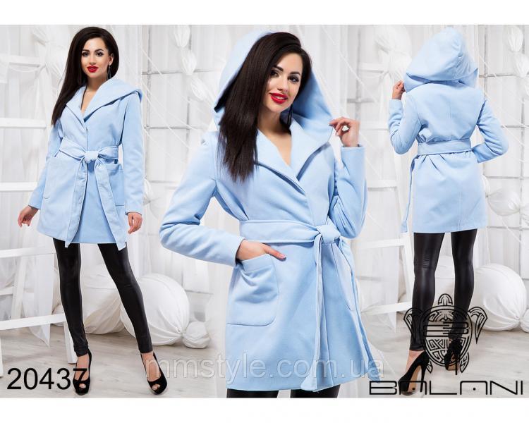 Стильное пальто с капюшоном - 20437