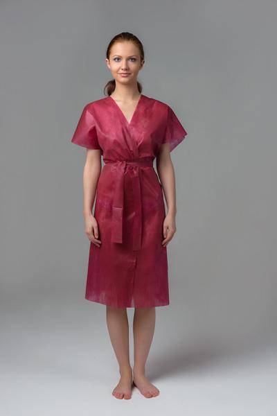 Халат-кимоно без рукавов, бордовый, 10 шт/уп