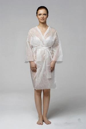 Халат-кимоно с рукавами, спанлейс, белый, 5 шт/уп