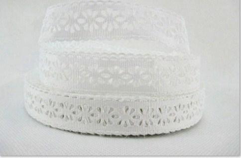 Репсовое  кружево  22 мм белого  цвета