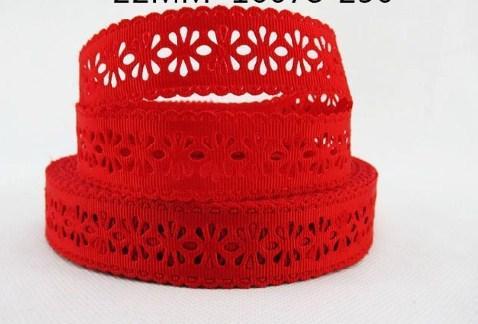 Фото Кружево ,тесьма ,сетка,резинка, Кружево хлопок,репс Репсовое  кружево  22 мм.    красного   цвета