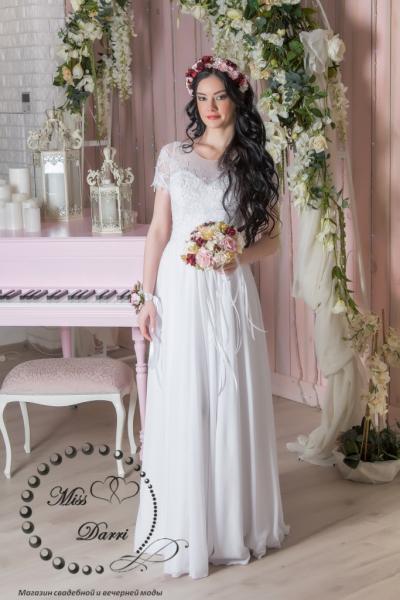Свадебное платье ампир белое с коротким рукавом