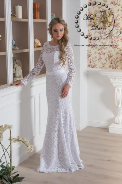 Свадебное платье рыбка кружевное с рукавами
