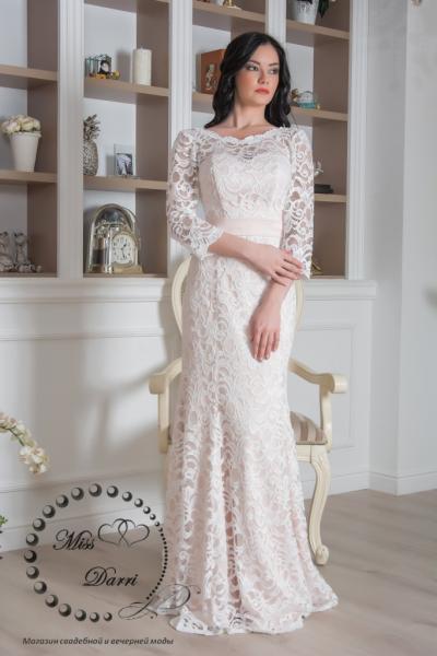 Свадебное платье рыбка молочное пудровое кружевное