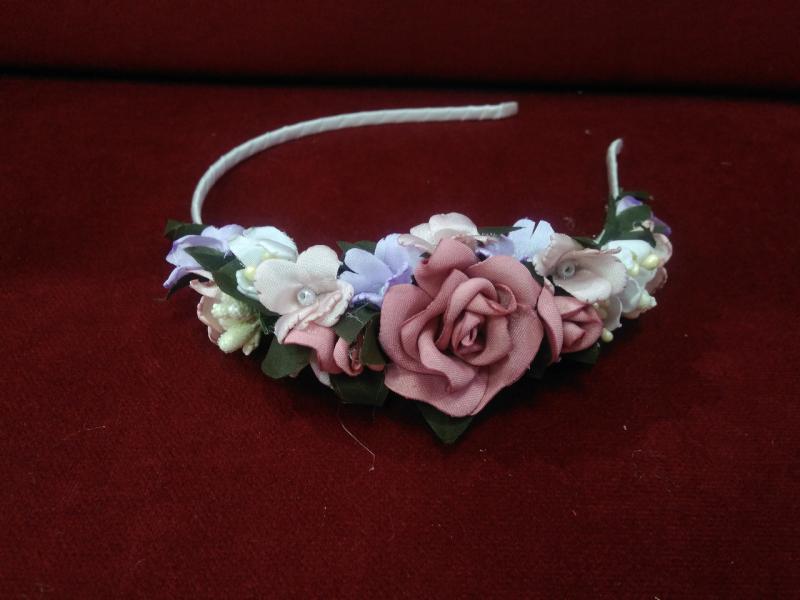 Обруч из цветов (венок цветочный) розовый с пудровым  для взрослых и детей