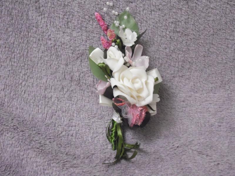 Свадебная бутоньерка бежевая с розовым