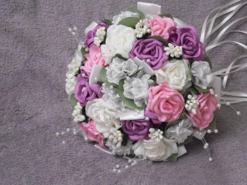 Свадебный букет-дублер розово-сиреневый