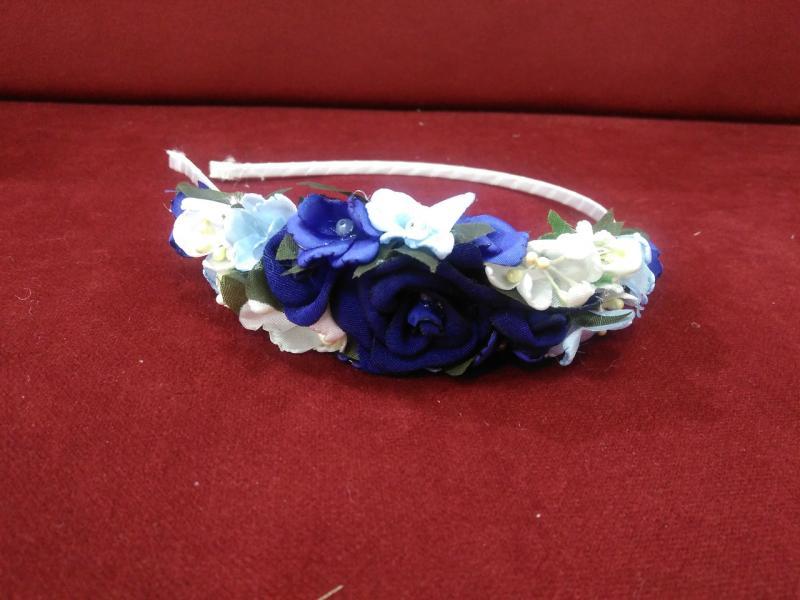 Венок-ободок из цветов (обруч) синий для взрослых и детей
