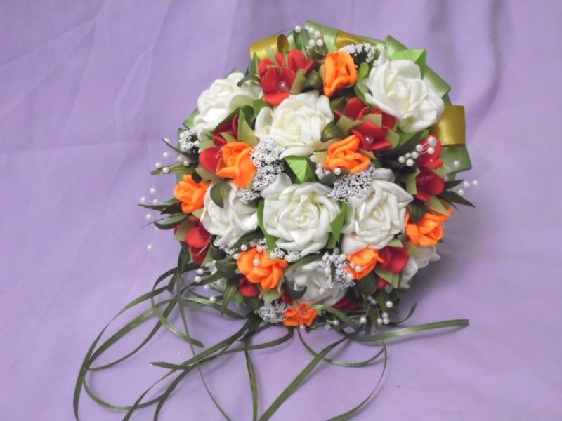 Свадебный букет-дублер бежевый с красным и оранжевым