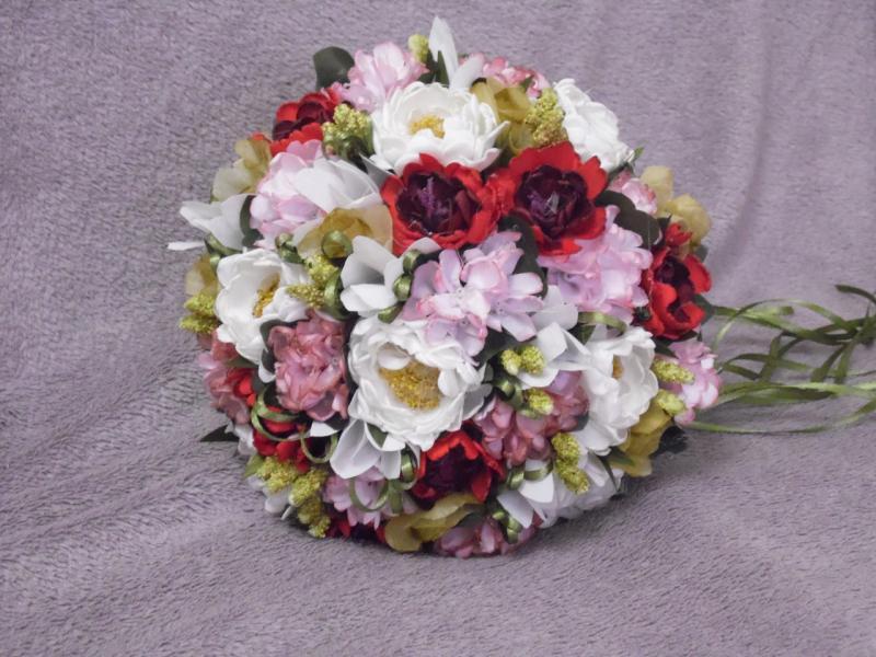 Свадебный букет-дублер розовый с белым и красным