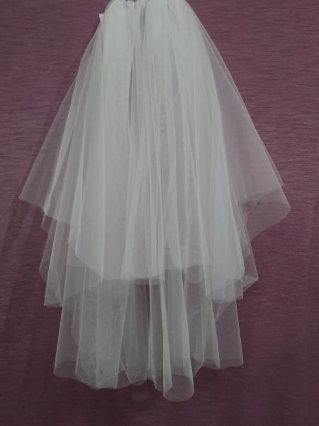 Свадебная фата айвори (бежевая) обрезная из еврофатина