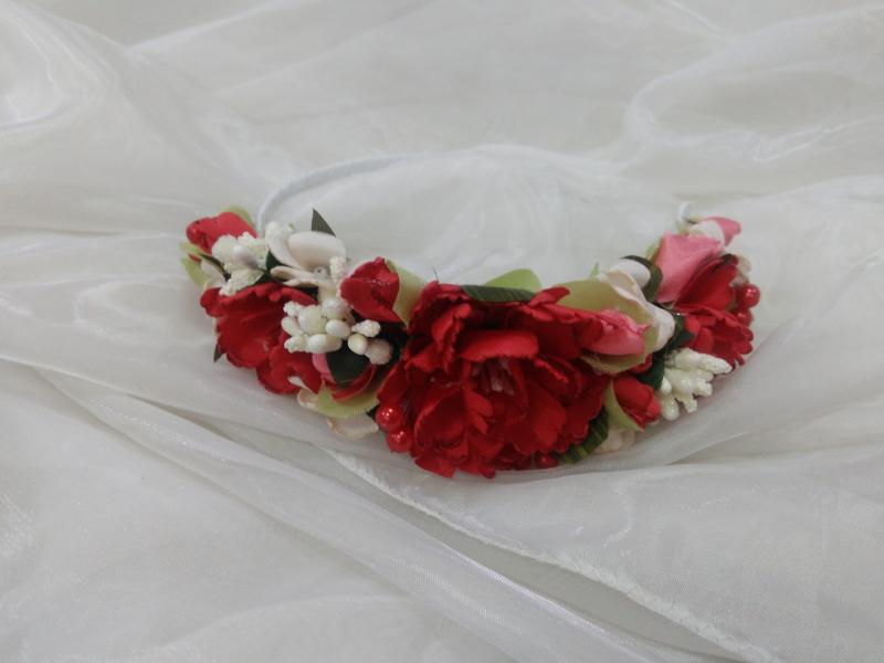 Обруч/венок из цветов красный для взрослых и детей