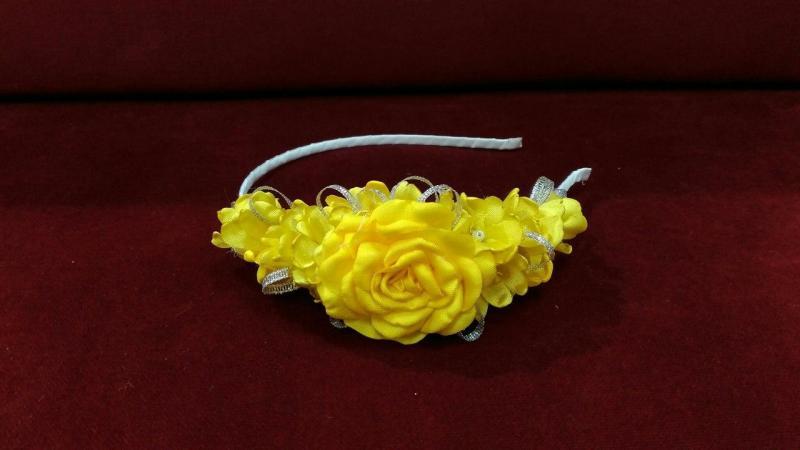 Венок-ободок (обруч) из цветов желтый  для взрослых и детей