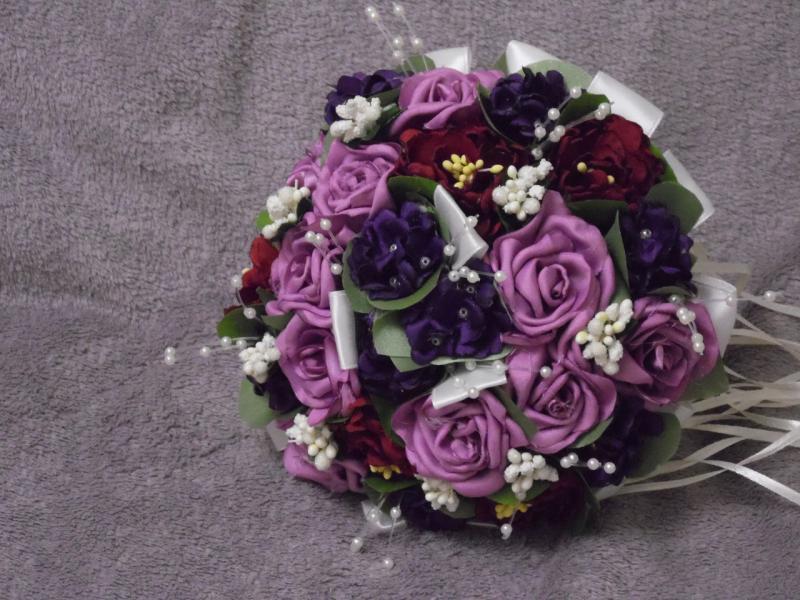 Свадебный букет-дублер фиолетовый с бордовым
