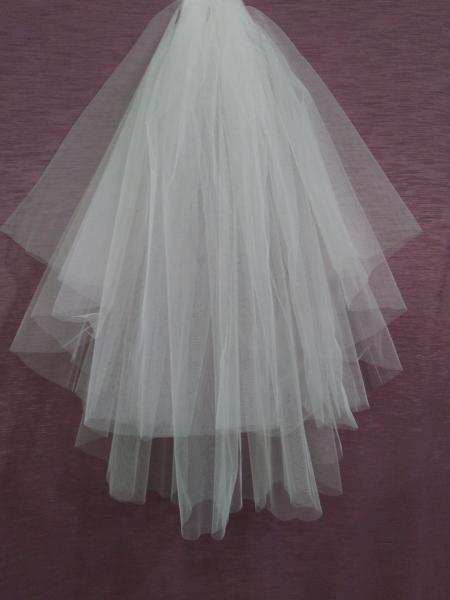Свадебная фата белая обрезная