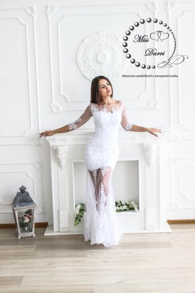 Свадебное платье рыбка кружевное с прозрачными ножками