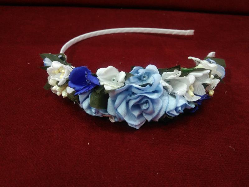 Обруч с цветами голубой (венок) для взрослых и детей