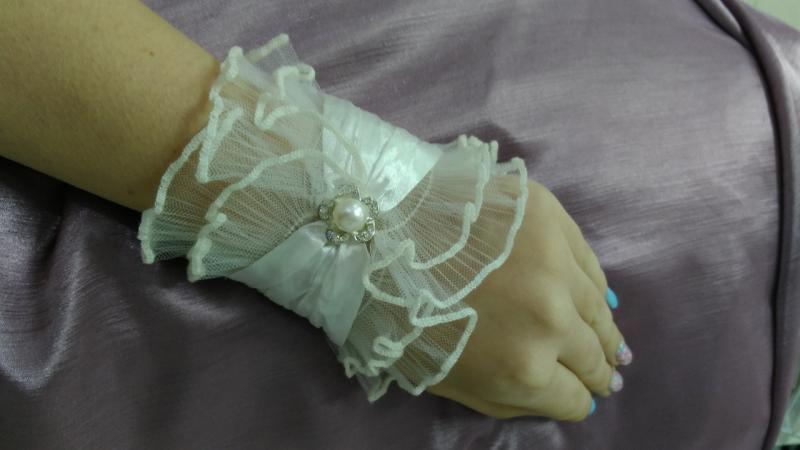 Свадебные перчатки манжеты айвори