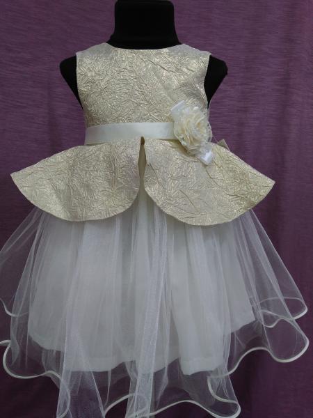 Детское платье нарядное на 3-5 лет золотое с айвори