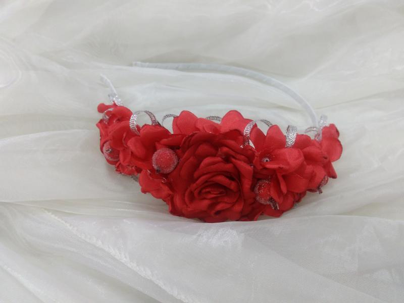 Ободок/венок из цветов красный для взрослых и детей