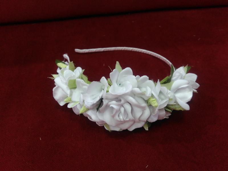 Обруч с цветами (цветочный венок) белый для взрослых и детей