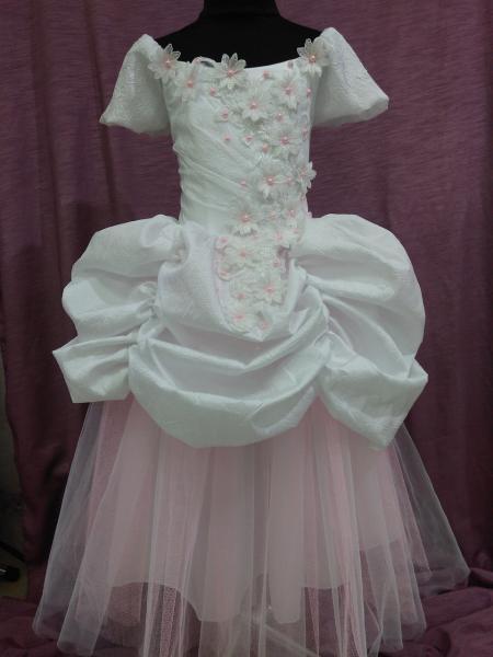 Платье детское нарядное белое с розовым Принцесса на 6-10 лет