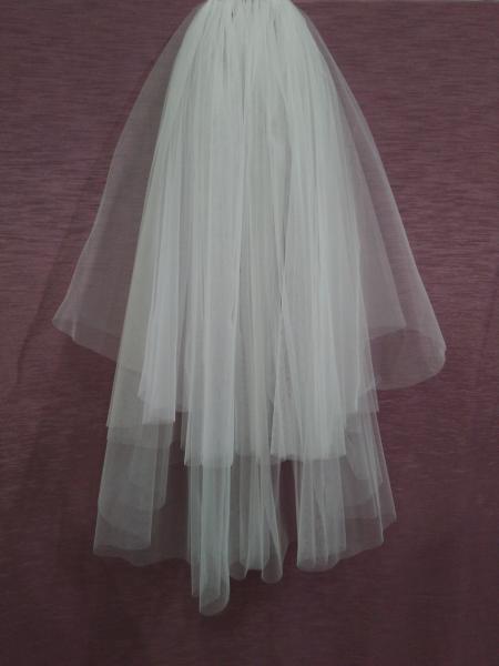 Свадебная фата белая обрезная из еврофатина