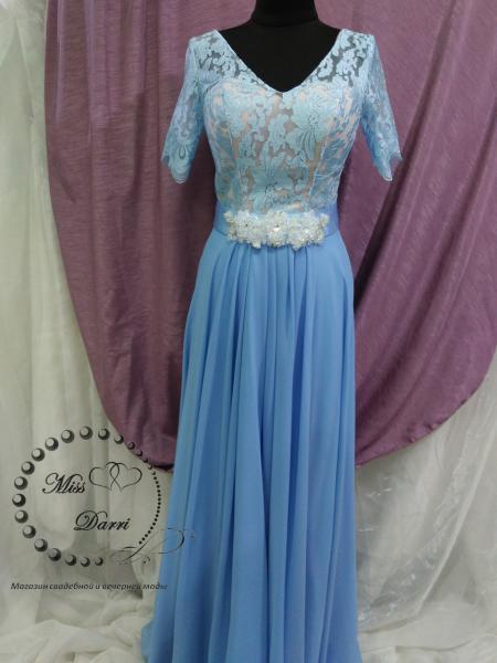 Вечернее выпускное платье длинное небесно-голубого цвета