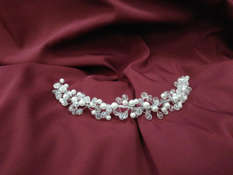 Веточка с хрусталиками для свадебной и вечерней прически
