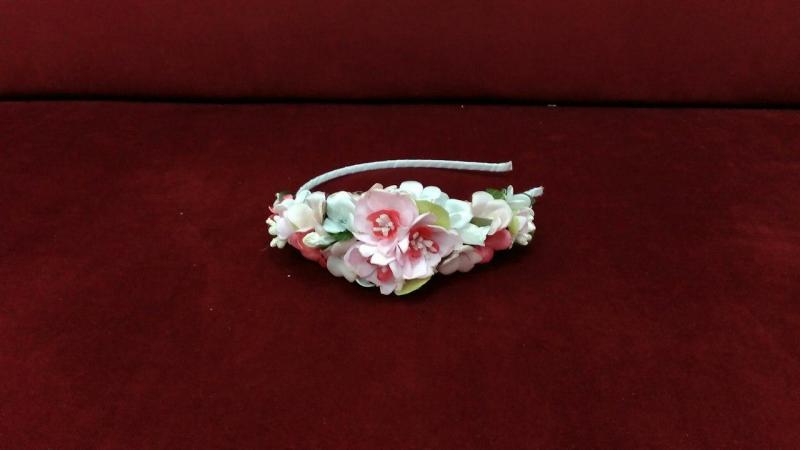 Обруч/венок из цветов розовый с белым и персиковым