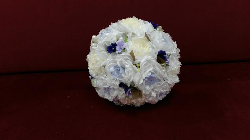 Свадебный букет-дублер из пион белый с сиреневым