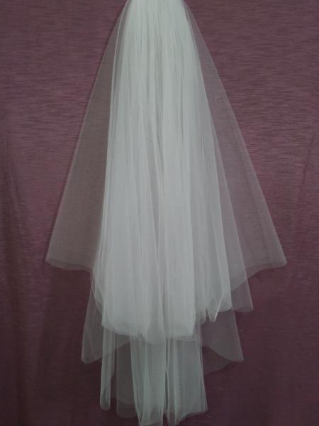 Свадебная фата айвори (молочная) обрезная евро длины