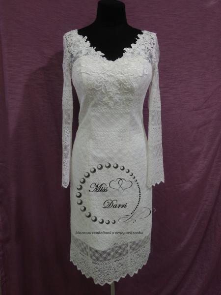 Короткое свадебное платье с рукавом айвори