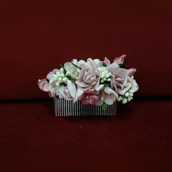 Гребешок для волос с цветами пудровый с розовым