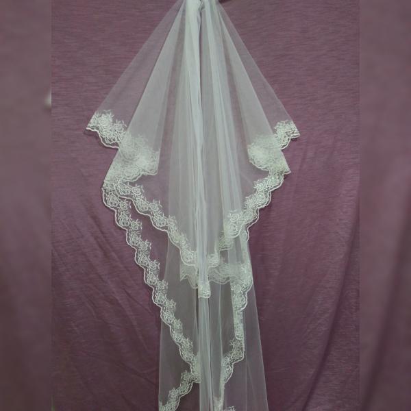 Свадебная фата айвори длинная с гипюром
