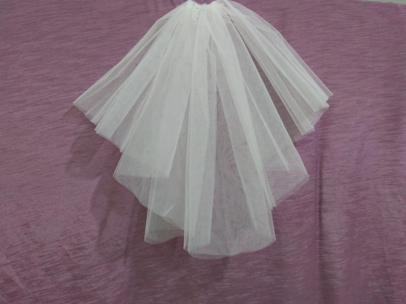 Свадебная фата короткая айвори (бежевая)