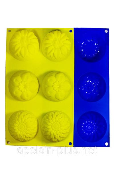 Фото Силиконовые формы для выпечки, Формы на планшете Силиконовая форма для выпечки Ассорти с подсолнухом на 6 ячеек