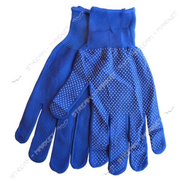 Фото ИНСТРУМЕНТ И ОБОРУДОВАНИЕ, Средства индивидуальной защиты и органайзеры, Перчатки, рукавицы, наколенники Перчатки рабочие женские синтетика с ПВХ точкой синие