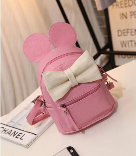 """Рюкзак розовый """"Микки с белым бантом"""""""