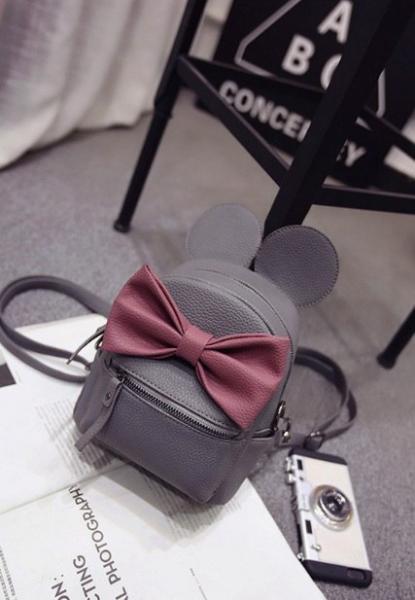 """Рюкзак темно-серый """"Микки с бордовым бантом"""""""
