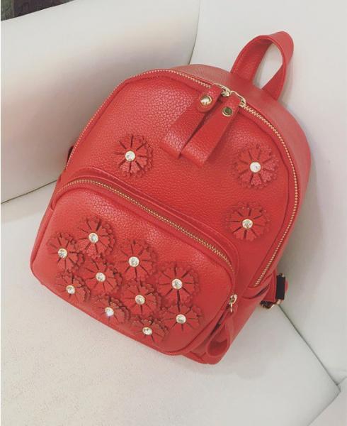 """Рюкзак красный """"С цветочками"""""""