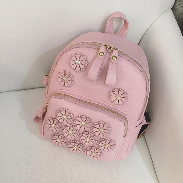 """Рюкзак розовый """"С цветочками"""""""