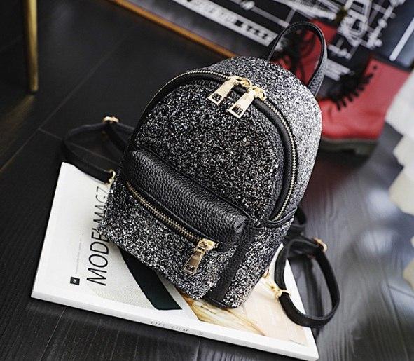 """Рюкзак мини черный """"С серебристыми блесточками"""""""