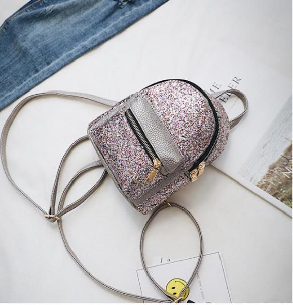 """Рюкзак мини бронзовый """"С разноцветными блесточками"""""""