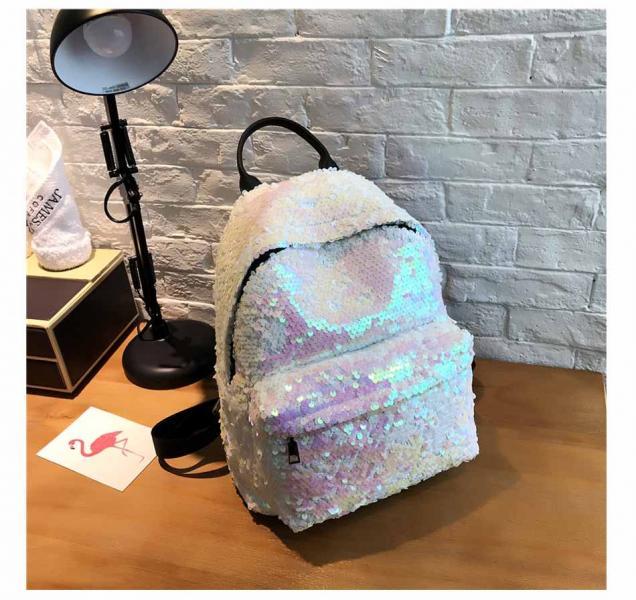 """Рюкзак с пайетками """"Бело-розовый"""""""