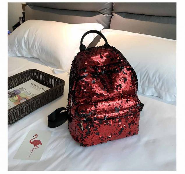 """Рюкзак с пайетками """"Красный"""""""