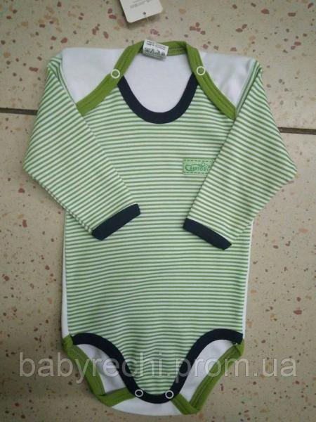 Детский бодик в зеленую полоску 62-86 98