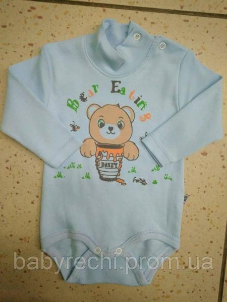 Детский голубой бодик Bear Eating 62-80 74