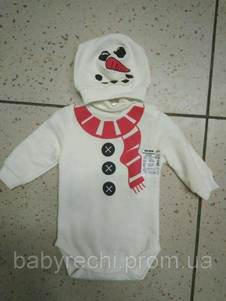 "Детский костюм бодик+шапка ""Снеговичок"""